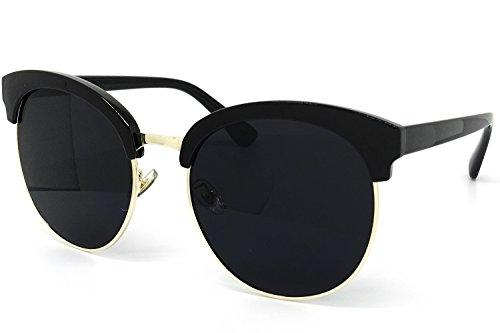 O2 Eyewear 97018 Premium Oversize Cats eye Womens Mens Mirror Funky Flat Sunglasses (BLACK, BLACK / size - Sunglasses Oversize
