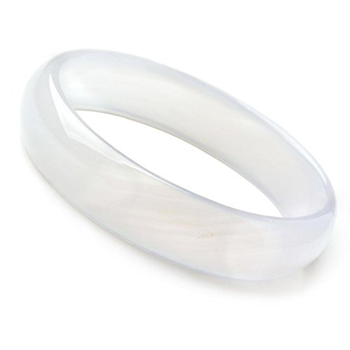 (Auspicious Cloud Natural Agate Jade Bangle Bracelet White Color (Small Size(58-59)))