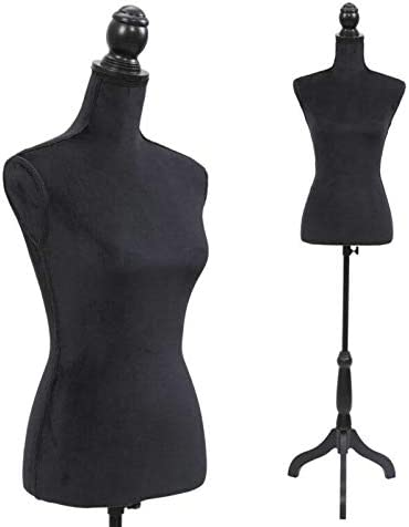 WUIIEN Mannequin Torso Room Woman with Black Tripod Stand Our Foam New