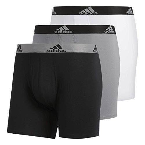 adidas Men's Stretch Cotton Boxer Briefs Underwear (3-Pack), Black/Grey Grey/Black White/Black, Large (Whites Stretch Briefs)