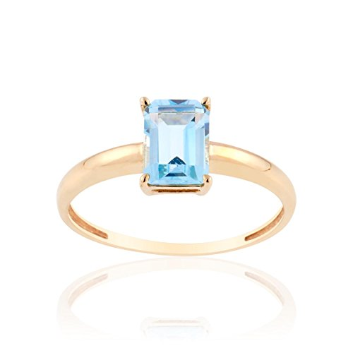 Bague CLEOR en Or 375/1000 Jaune et Topaze Bleue - Femme