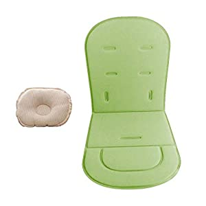 Baby Stroller Cushion Liner with Baby Pillow Pushchairs Car Seat Mat Universal Baby Stroller Mat (Light Green)
