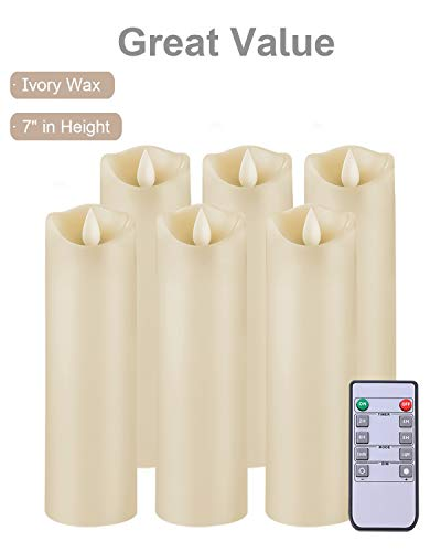 5PLOTS Flameless Candles with Remote and Timer (H7'' x D2.2'') - Flickering LED Pillar Candles with Dancing Flame - Battery Operated, Ivory Wax, Set of 6 by 5PLOTS (Image #1)