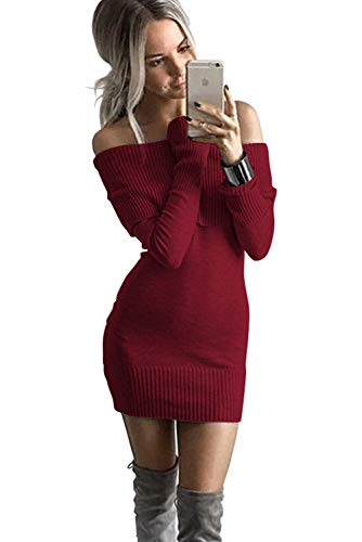 ALAIX Womens Sexy Off Shoulder Long Sleeve Pencil Bodycon Knitted Sweater Mini Dress Pullover-Wine Red