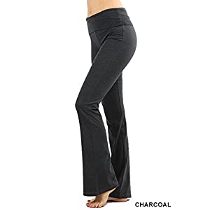 Zenana Premium Cotton FOLD Over Yoga Flare Pants