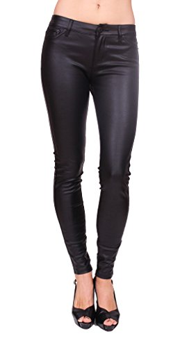 Celebrity Pink Jeans Women Skinny Middle Rise Black Jeans with PU Leather