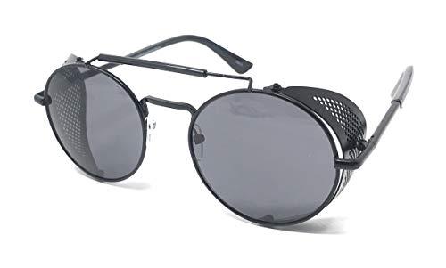 Armazón con de cobre 50 Negros de Steampunk Gafas anteojeras rave Cyber con ultra Deep gótico gafas sol vintage té Lentes Side Con gafas protección UV400 redondas Negro BCnnPq