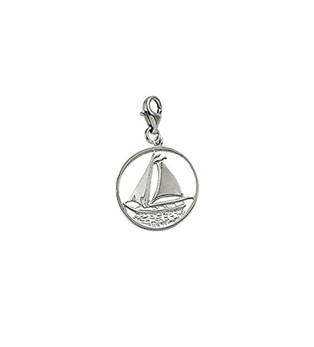 14k White Gold Sail Boat Charm With Lobster Claw Clasp, Charms for Bracelets and Necklaces