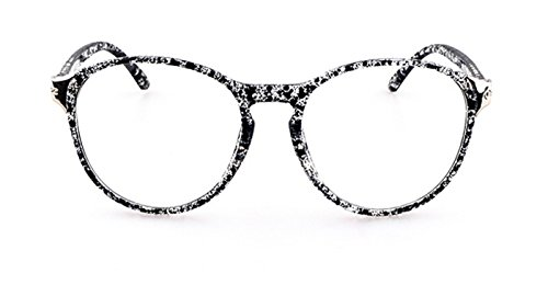Flowertree Unisex S2166 Plastic Frame Metal Engraved Detail Round 55mm Eyeglasses (black - Floral Sunglasses D&g
