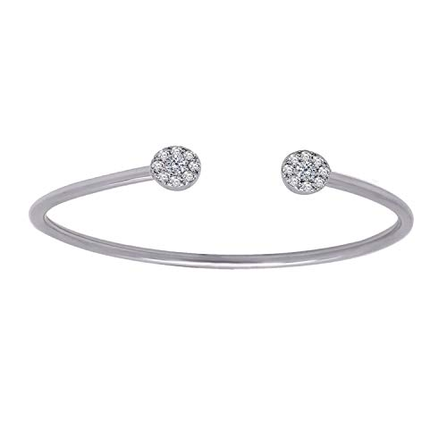 IGI-Certified 0.48 Ct Round Cut Natural Diamond 18K White Gold Cluster Cuff Bangle ()