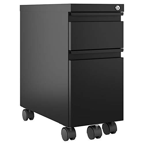 Hirsh 10'' Wide 20'' Deep Narrow Mobile Zip Pedestal File Cabinet Box File in Black by Hirsh Industries