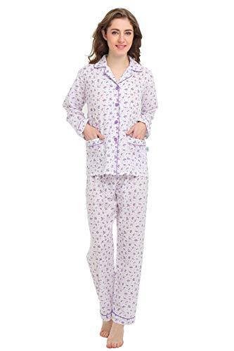 (GLOBAL Womens 100% Cotton Pajamas, Long Sleeve (S) )