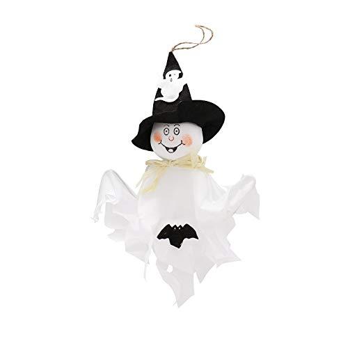 Bubble-Princess - Ghost bat Hanging Hangtag Halloween bar diy Decoration Dolls Festival Party Favors Supplies Funny Joking Toys white orange ()