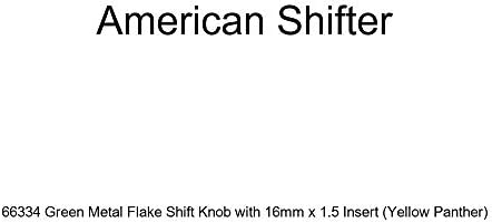 Yellow 4 Speed Shift Pattern - 4RDR American Shifter 260392 Green Flame Metal Flake Shift Knob with M16 x 1.5 Insert