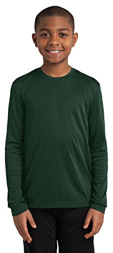 Sport-Tek Youth Long Sleeve PosiCharge Competitor Tee. YST350LS Forest Green (Sport Tek Youth Color)