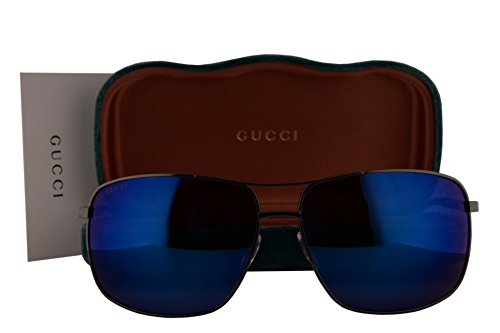 Gucci GG0065SK Sunglasses Shiny Dark Ruthenium w/Blue Mirror Lens 003 GG - Sunglasses Retro 62mm Gucci