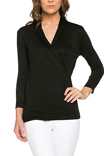 Women's 3/4 Sleeve Surplice Blouse Top - Cross Over, Nursing, Maternity, Wrap, Casual (Medium, Black) ()