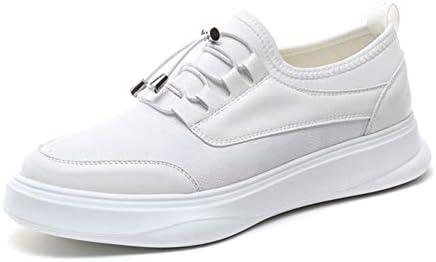 男性のスポーツシューズ弾性ロック靴ひもマイクロファイバー&ニットスプリット共同プラットフォームステッチEVAソール軽量のためのアスレチックスニーカー YueB HAC (Color : 白, サイズ : 26 CM)