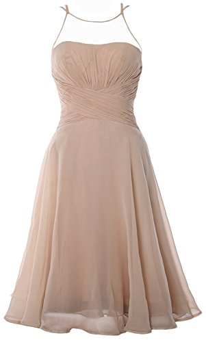 MACloth Elegant Illusion Short Cocktail Dress Chiffon Wedding Party Formal Gown Champagne