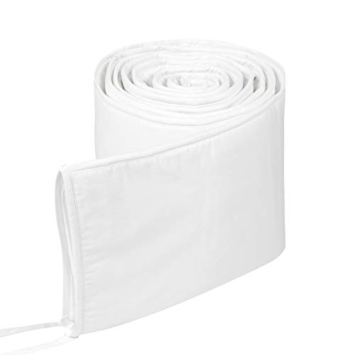 TILLYOU Cotton Collection 1-Piece Nursery Crib Bumper Pads for Standard Cribs 28x52, Machine Washable Padded Crib Linerfor Babies, Safe and Soft Crib Padding Protector for Head Banging, White