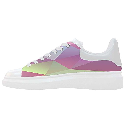 492f4605752 Custom Geometric Drawing Leather Fashion White Sneaker Thick Bottom Women s  Shoes lovely