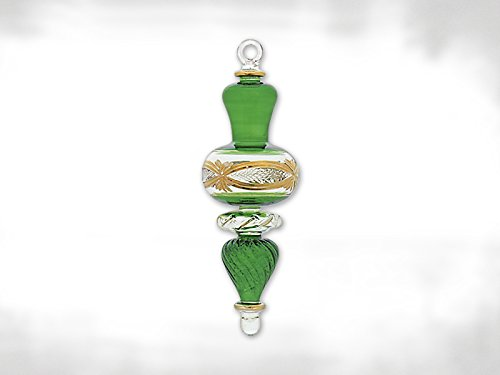 Green and Gold Egyptian Glass Christmas Tree Ornament Made in Egypt Decoration