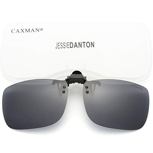 (CAXMAN Polarized Clip On Sunglasses Over Prescription Glasses for Men Women UV Protection Flip Up Grey Lens Extra Large)