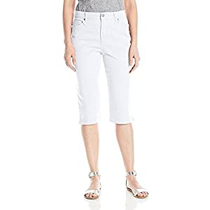 Gloria Vanderbilt Women's Amanda Skimmer Capri Short with Plain Pocket, Prism White, 12