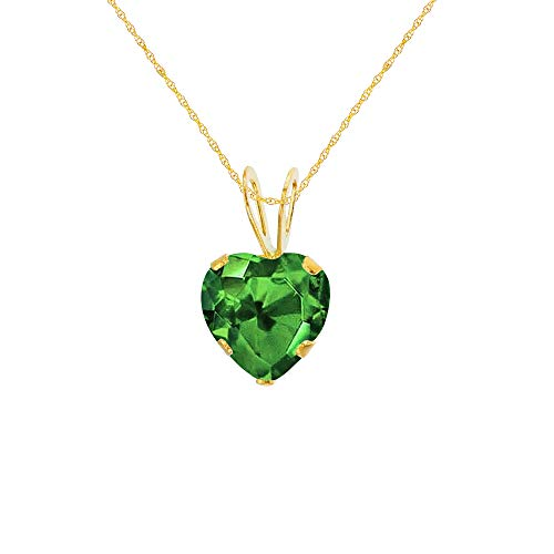 Genuine 14K Solid Yellow Gold 6x6mm Heart Created Emerald 18