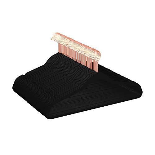50 Perchas de terciopelo antideslizantes negro con oro rosa