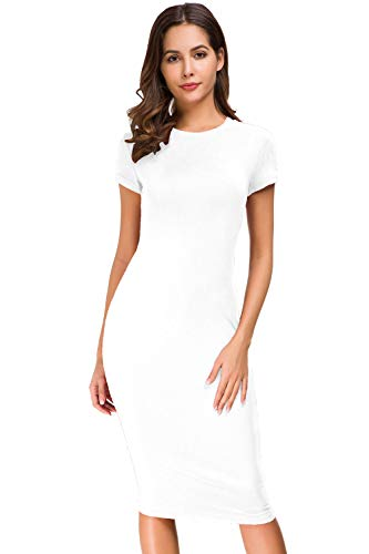 Ball White Womens T-shirt - Acacia Flowers Women's Cotton Casual Short-Sleeve Crew-Neck Tight Midi Elegant Sheath Dress Bodycon Summer Pencil Dress Work-Out Comfy Soft Slim Stretchy Maternity T-Shirt Dresses White S Size