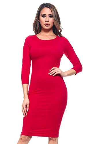 ICONOFLASH Women's Crimson 3/4 Sleeve Bodycon Midi Dress - Crew Neck Fitted Dress Size Large