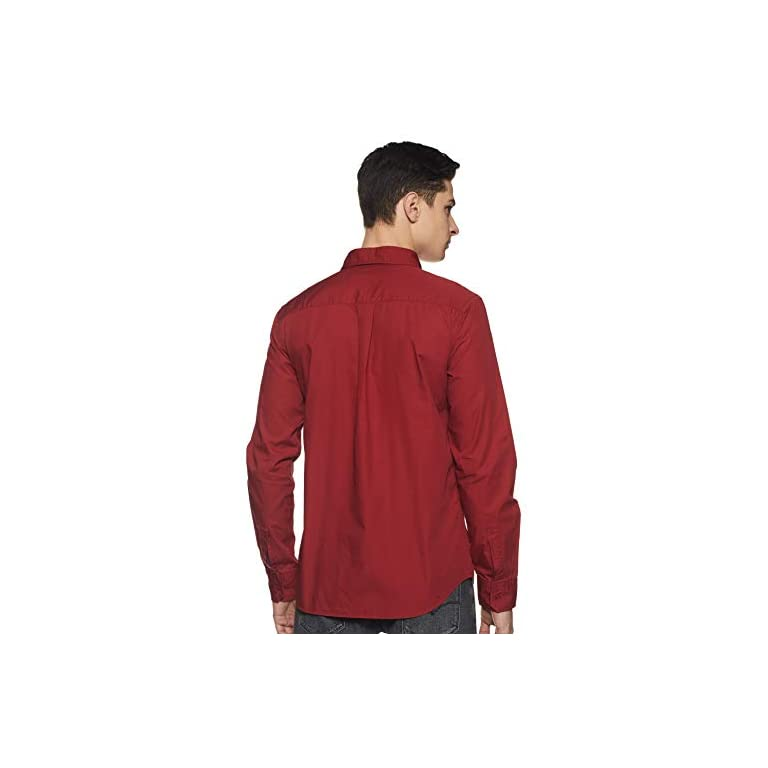31E U%2BYtrVL. SS768  - Amazon Brand - Symbol Men's Solid Regular Fit Casual Shirt
