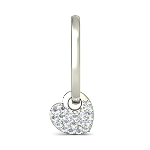 18K Or Blanc 0,35CT TW Round-cut-diamond (IJ | SI) Boucles d'oreilles créoles