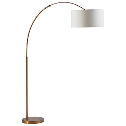 - Rivet Brass Arc Mid Century Modern Living Room Standing Floor Lamp With Bulb - 76 Inches, Brass with Linen Shade