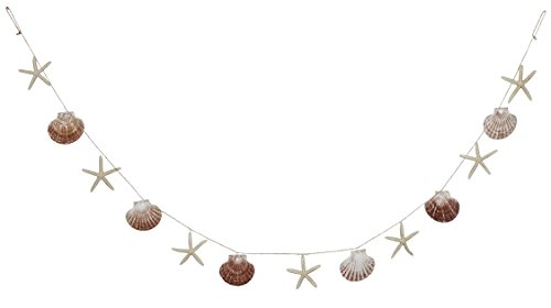 Starfish and Scallop Shells Garland, Seashells Flat Rope Strand 95""
