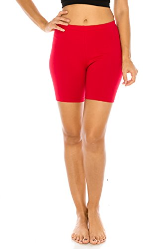 C&C Style Women's Stretch Jersey Bike Yoga Running Workout Bermuda Shorts Tights Pants Under Short Leggings S to 3XL Plus (1XL, Red)