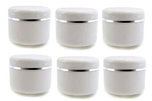 6Pcs Empty Refillable Travel Cosmetic Cream bottles - PP Plastic White Sample Packing Makeup Face Cream Eye Cream Facial Mask Ointment Storage Container Vial Jar - Container Diameter