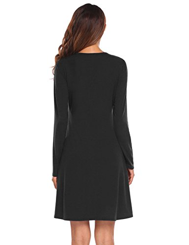 and Dress Solid Crossover black Women 4 Fit Belt Dress Flare Style2 with Sleeve Wrap Faux pasttry 3 Casual Party V Neck gp7WSqBB4w