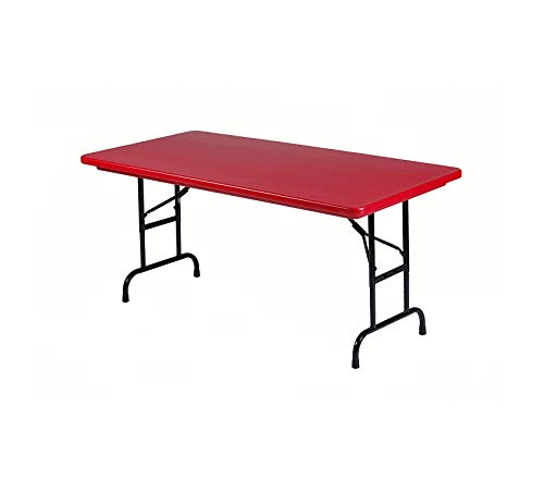 Wood & Style Office Home Furniture Premium R Series, Adjustable Height Blow Molded Plastic Commercial Duty Folding Table, Rectangular, 30 x 60, Deep Red