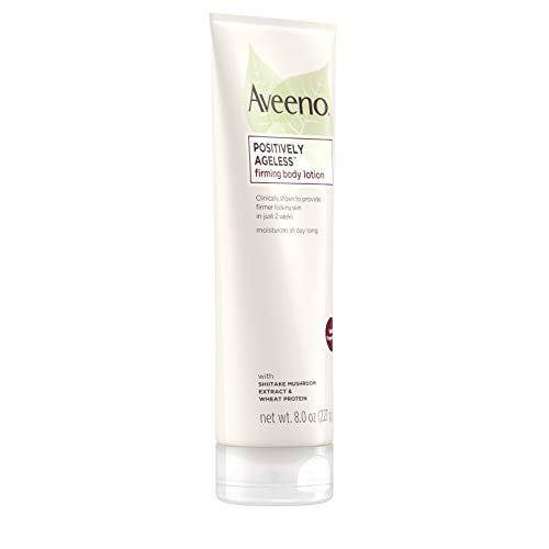 31E c 072QL - Aveeno Positively Ageless Anti-Aging Firming Body Lotion with Shiitake Mushroom complex & Wheat Protein,Lightweight &Non-Greasy Daily Moisturizing Lotion to help Improve Skin Elasticity & Texture,8 oz