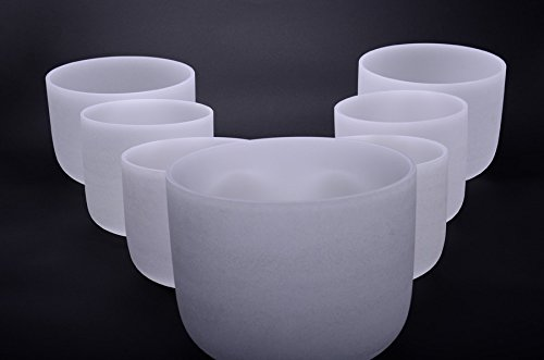 TOPFUND® 432 HzPerfect Pitch Chakra Set of 7 Bowls --Frosted Crystal Singing Bowl 8-14 Inch by TOPFUND