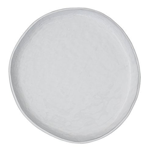 Creative Co-Op Antique White Irregular Shaped Terracotta Plate with Lip