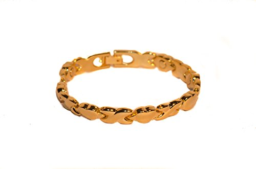 Magnetic Link Bracelet Hearts Criss Cross Design Goldtone ()
