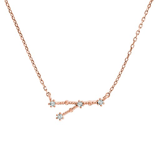 "PAVOI 14K Rose Gold Plated Astrology Constellation Horoscope Zodiac Necklace 16-18"" - Cancer"