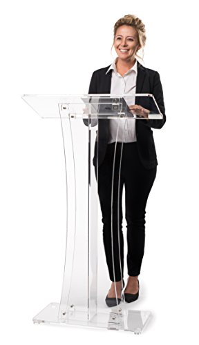 Stand Lectern Speaker (AdirOffice Acrylic Stand up, Floor-Standing Podium, Lectern (Clear))
