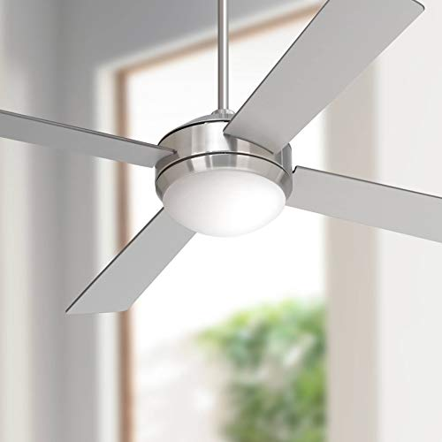 52 Courier Modern Ceiling Fan with Light LED Dimmable Remote Control Brushed Nickel Silver Blades White Opal Glass for Living Room Kitchen Bedroom Family Dining - Casa Vieja