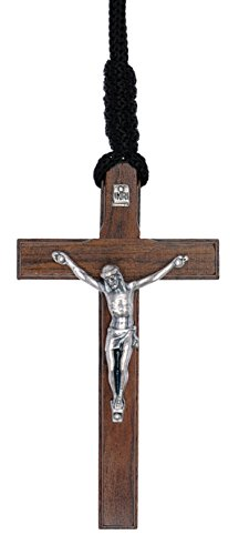 Intercession Wood Cross Crucifix on Cord - Made in Brazil (Traditional - Antique Silver - 3.5 Inches) Traditional Mens Cross