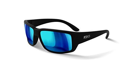 - REKS Unbreakable WRAP AROUND Sunglasses (Satin Touch Black, Blue Mirror)
