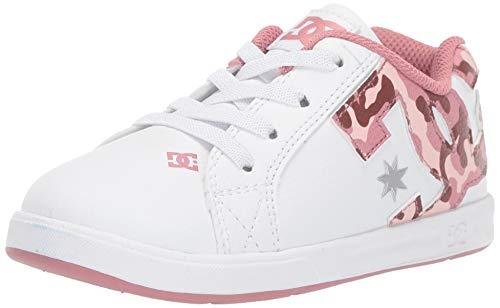 DC Girls' Court Graffik Elastic SE UL SN Skate Shoe, White/camo, 5 M M US Little Kid ()
